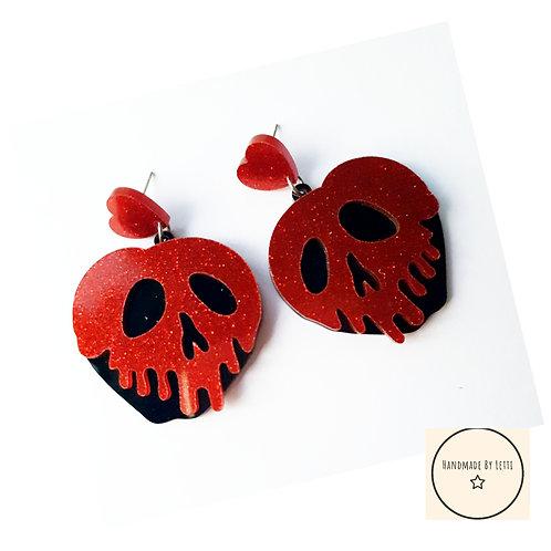 Poison apple red stud dangle drop earrings // red glitter //38mm