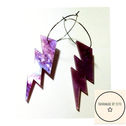 Galaxy lightning hoops / acrylic / stainless Steel hoops/ purple