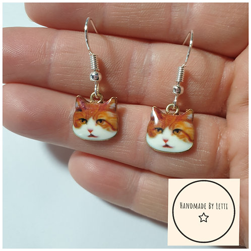 Stevie the ginger cat  Hook earrings/ silver plated hook/ cat