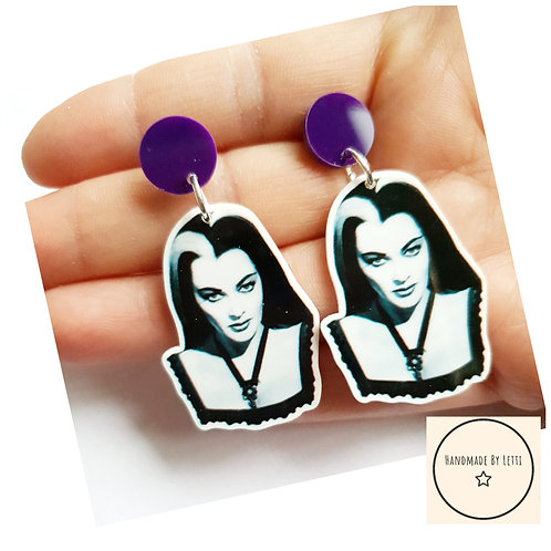 Lily stud dangle drop earrings/ resin / XL /purple laser cut acrylic