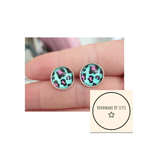 Leopard print glass 12mm stud earrings // silver plated // teal