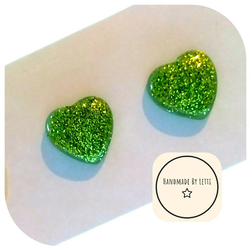 Irish Green Resin small glitter studs