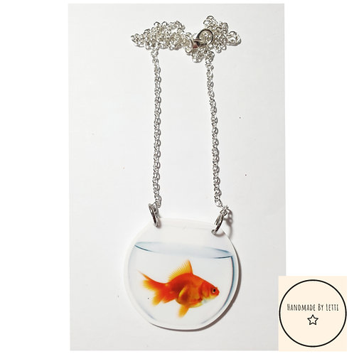 Goldfish resin necklace / silver plated chain