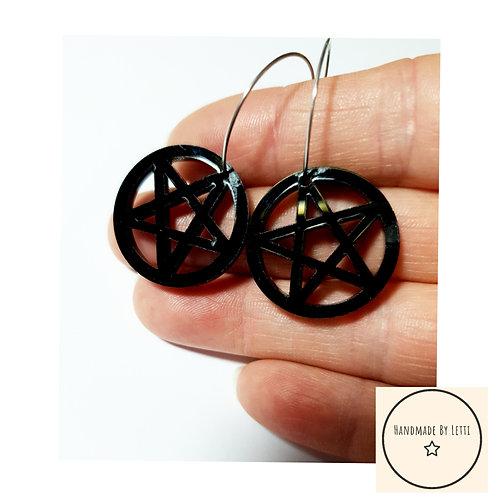 acrylic pentacles hoops / black / stainless Steel hoops