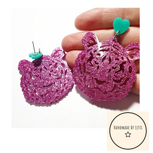 Tiger acrylic stud dangle drop earrings/ acrylic glitter  / pink