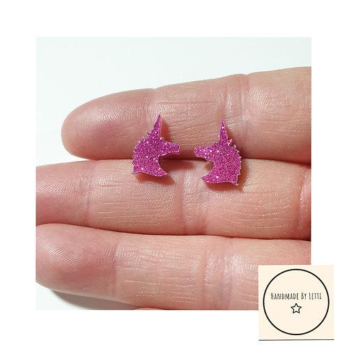 Mini glitter unicorn  earrings / acrylic / pink
