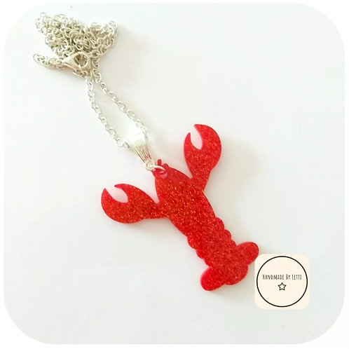 Red lobster necklace / acrylic / silver plated chain red glitter