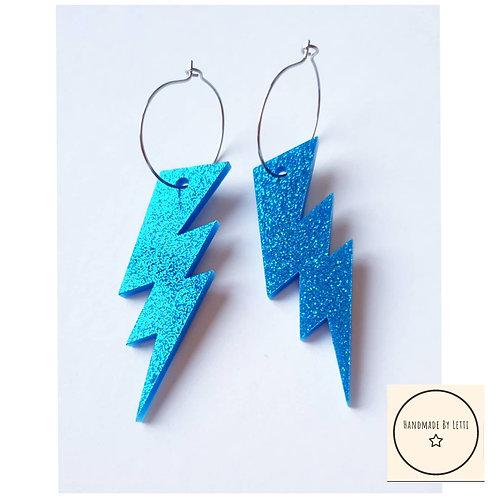 Lightning hoop earrings /  acrylic glitter blue / 25mm hoop
