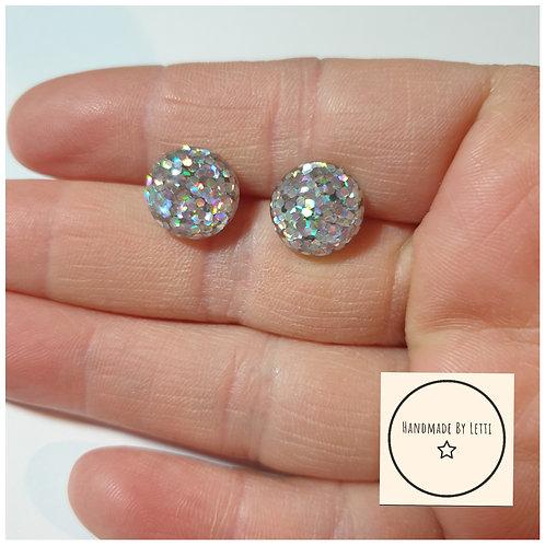 Glitter ball Resin  circle stud earrings / 12mm