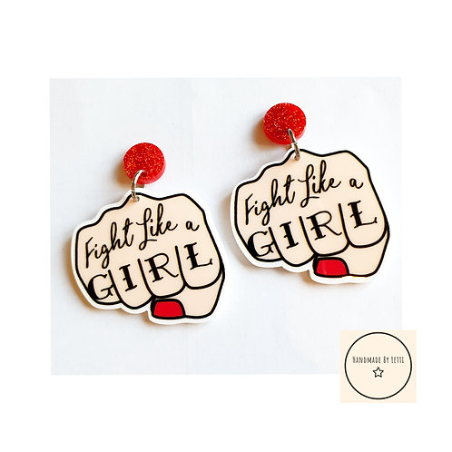 Fight like a GIRL Stud dangle earrings// extra large // acrylic// red glitter