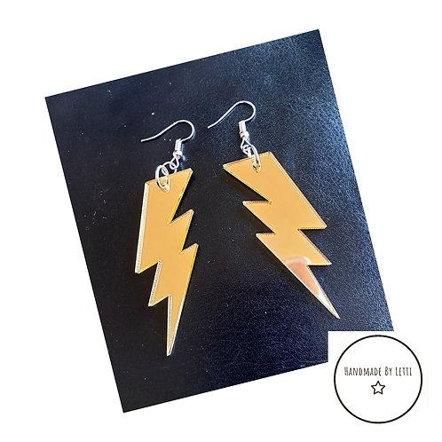 Gold lightning bolts earring // mirror acrylic