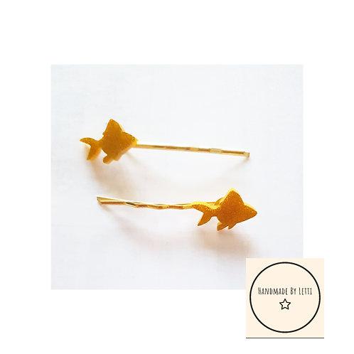 Feed the goldfish gold glitter hair slides