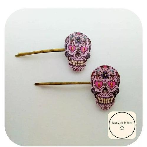 Sugar Skull Hair Slide🍭Brass⭐ Handmade ✨ Heart Eyes