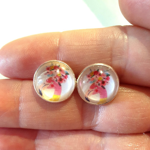 Floral flamingo glass studs silver plated setting 12mm