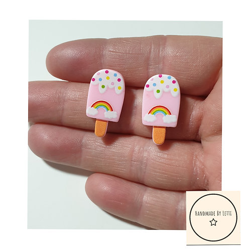 Pink rainbows lolly stud earrings / resin
