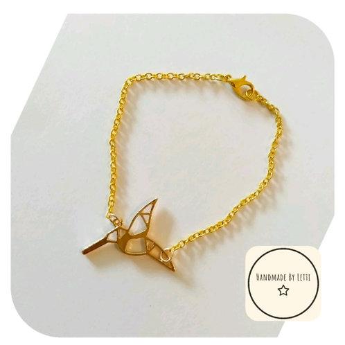 Hummingbird Origami Bracelet 💕 Gold Plated ✨ Handmade ⭐21cm