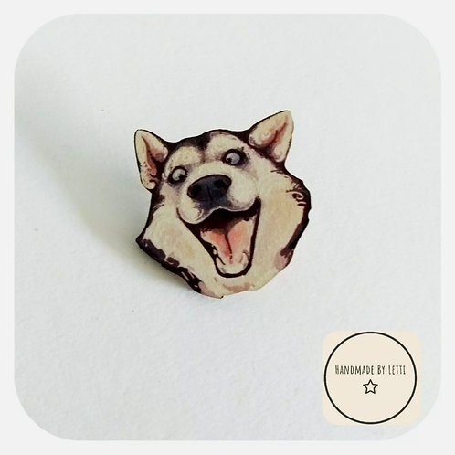 Husky dog wooden pin badge