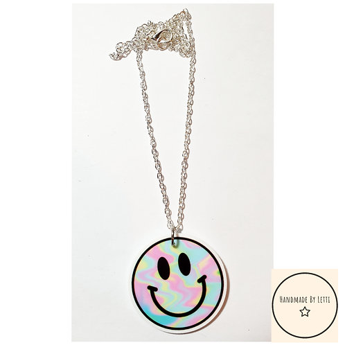Ravers party resin necklace / silver plated chain