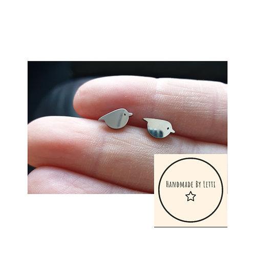 Christmas Mini robin stud earrings// tiny 10mm stainless steel