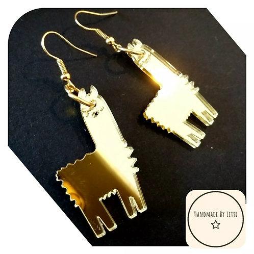 Llama alpaca mirror Earrings ✨ Acrylic ✨38mm😍 Dangle Drop 🌈gold acrylic mirror