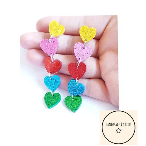 Rainbow love stud dangle drop earring / long glitter hearts