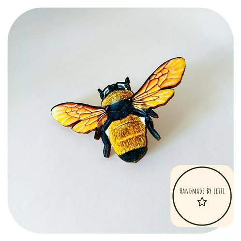 XL yellow honey bee brooch // wooden 75mm