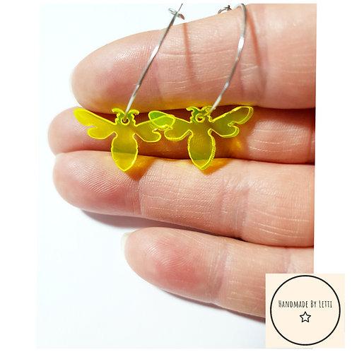 Neon bee  hoops / yellow / stainless Steel hoops