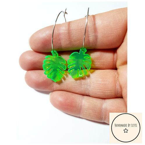 Neon montera leaves hoops / acid green / stainless Steel hoops