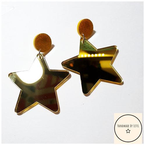 Giant mirror acrylic star earrings / stud dangle drop / gold
