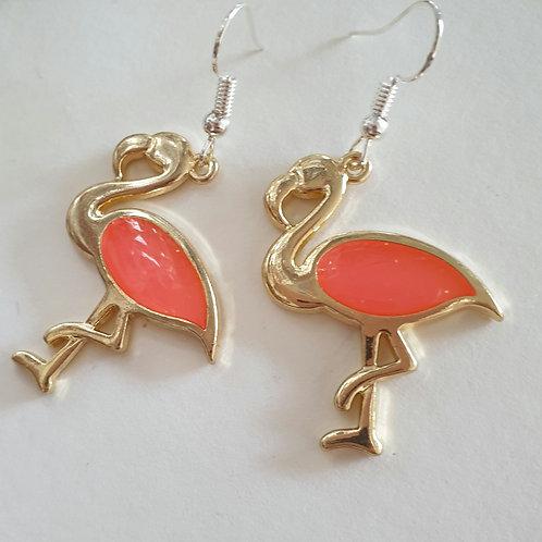 Large glitter flamingo hook earrings / silver plated hook