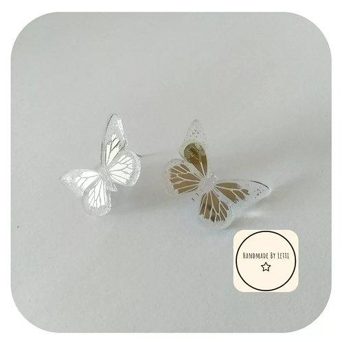 Mirror Butterfly Studs Earrings acrylic Silver Medium