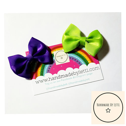 Pair of mini Ribbon bow clips / various colours