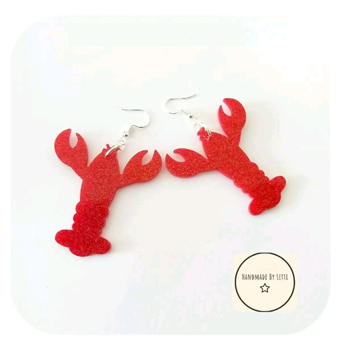 Lobster red glitter Acrylic Earrings Dangle Drop ⭐ Handmade Large
