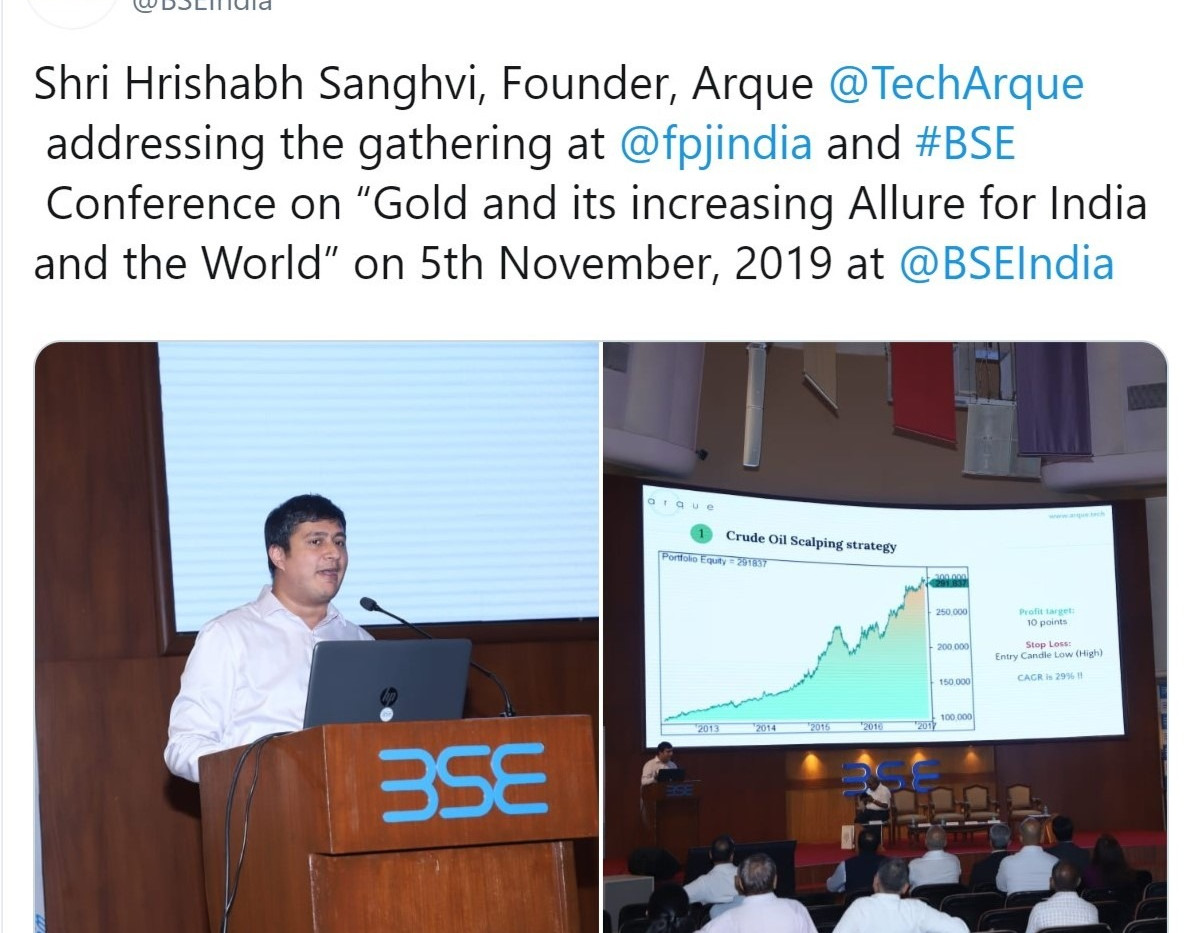 BSE Gold convention algorithmic trading.