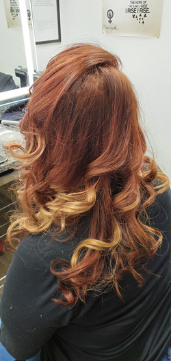 From blonde to this warm red with golden ends