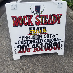 Rock Steady Hair sandwich board