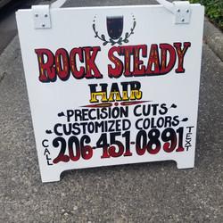 Rock Steady Hair sandwich board