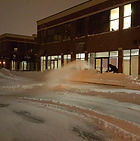 Snowblowing the Walkways at the Portland Hills Plaza
