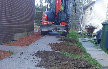 landscaping front yard topsoil drainage slope trees new development