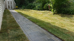 Walkway, new sod and berm