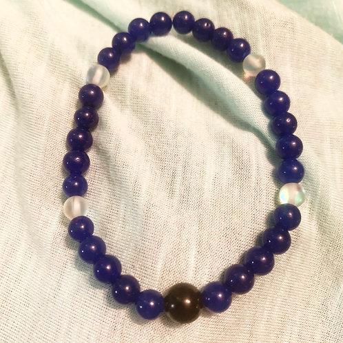Blue Aventurine (dyed) & Mystic Aura Quartz Chakra Balancing Bracelet 7.5 in