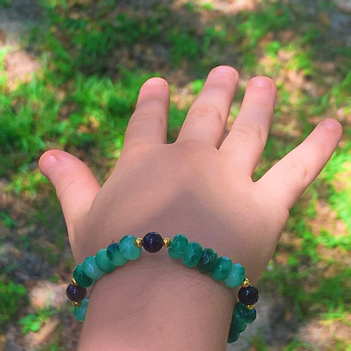 Children's Emerald, Obsidian, and 14k gold plated bead bracelet