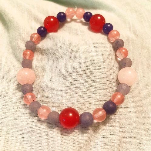 Cherry Quartz & Blue Aventurine Chakra Balancing Bracelet