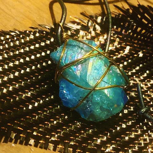 Angel Aura - Aqua Aura Copper Wire wrap necklace