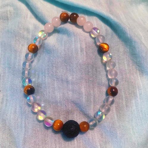 Mystic Aura Quartz, Tigers Eye, Rose Quartz Chakra balancing Bracelet 7.5 in