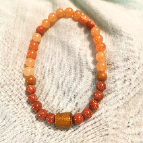 Goldstone & Red Aventurine Chakra Balancing Bracelet