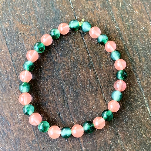 Cherry Quartz & Green Tourmaline Bracelet