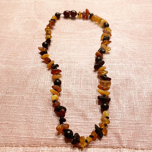 12 inch amber and shungite necklace