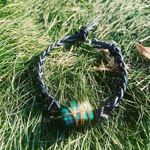 Copper Wire Wrapped Malachite Leather Bracelet
