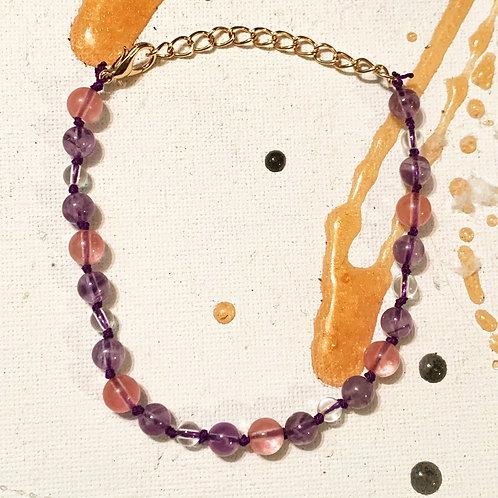 Amethyst, Cherry Quartz and Clear Quartz Bracelet